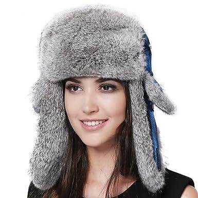 0c7cac9f5 FURTALK Natural Rabbit Fur Ushanka Trapper Hat Aviator Winter Cap for Women