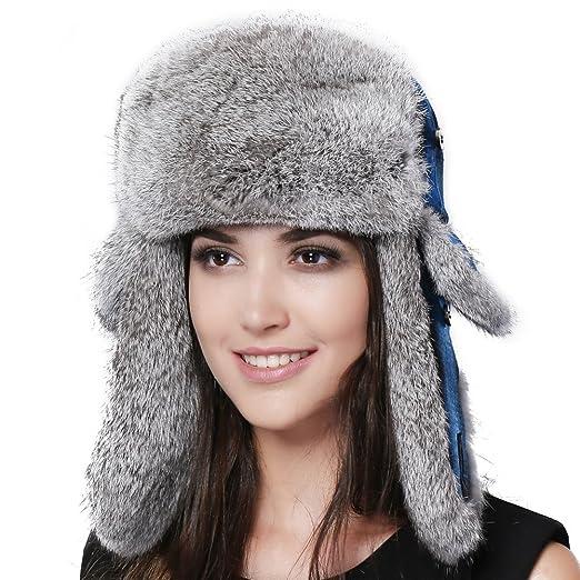 3126ca7b433 FURTALK Winter Trapper Fur Hat for Women Natural Rabbit Fur Trim Hunting  Russian Hats Designed Blue