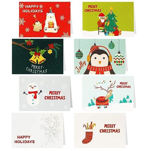 HOWAF 32 Piezas Tarjetas de Navidad, Tarjetas de Regalo de Felicitación de Feliz Navidad Año Nuevo Postal Regalo con Sobres para Familiares Amigos ...