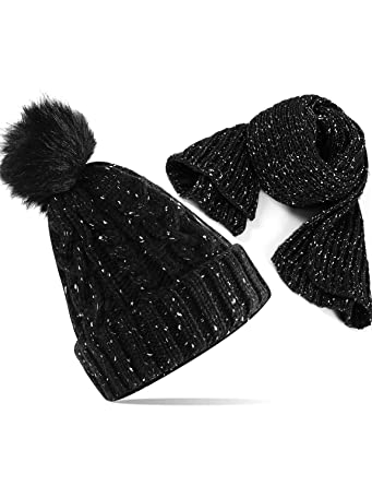 aee31bc2db9 VENI MASEE Beanie Hat Scarf Set Winter Unisex Knitted Skull Hat with Fleece  Lined (-10℃-10℃)  Amazon.co.uk  Clothing