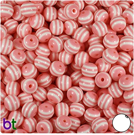 100Pcs 8mm Round Resin Stripe Beads Mixed Color Crafts For DIY Jewellery Making