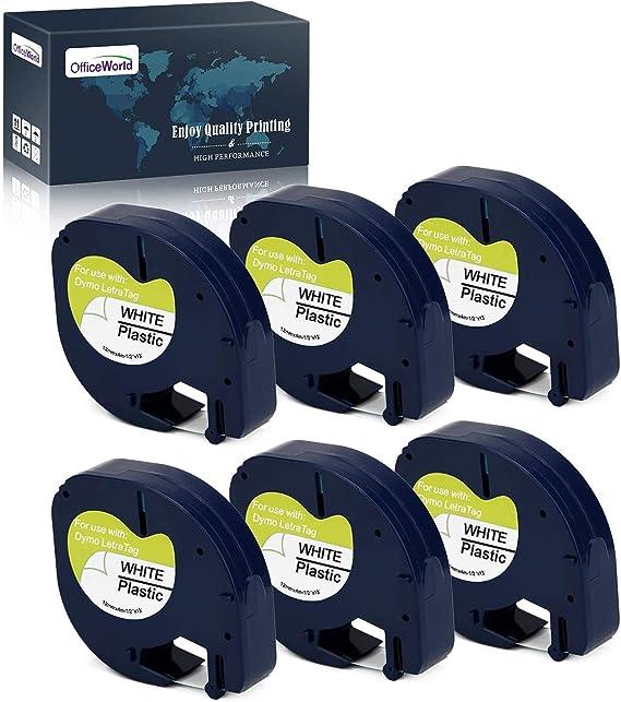Imagen deOfficeWorld 6 x Compatible DYMO LetraTag 91201 S0721610 Cintas de Negro sobre blanco Plastico Cinta de etiquetas, Compatible para DYMO LetraTag LT-100H, LT-100T, LT-110T, QX 50, XR, XM Label Makers