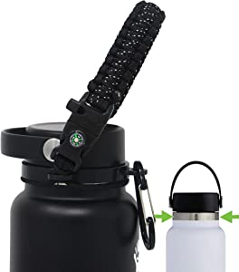 One MissionX Paracord Handle Compatible with Hydro Flask 2.0 Wide Mouth Water Bottle, Durable & Secure Accessories, Fits 12oz to 64oz
