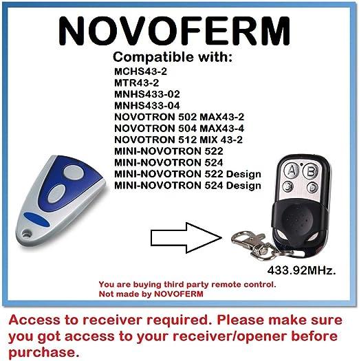 Compatible télécommande avec Novoferm novotron 502 MAX43-2 504 MAX43-4