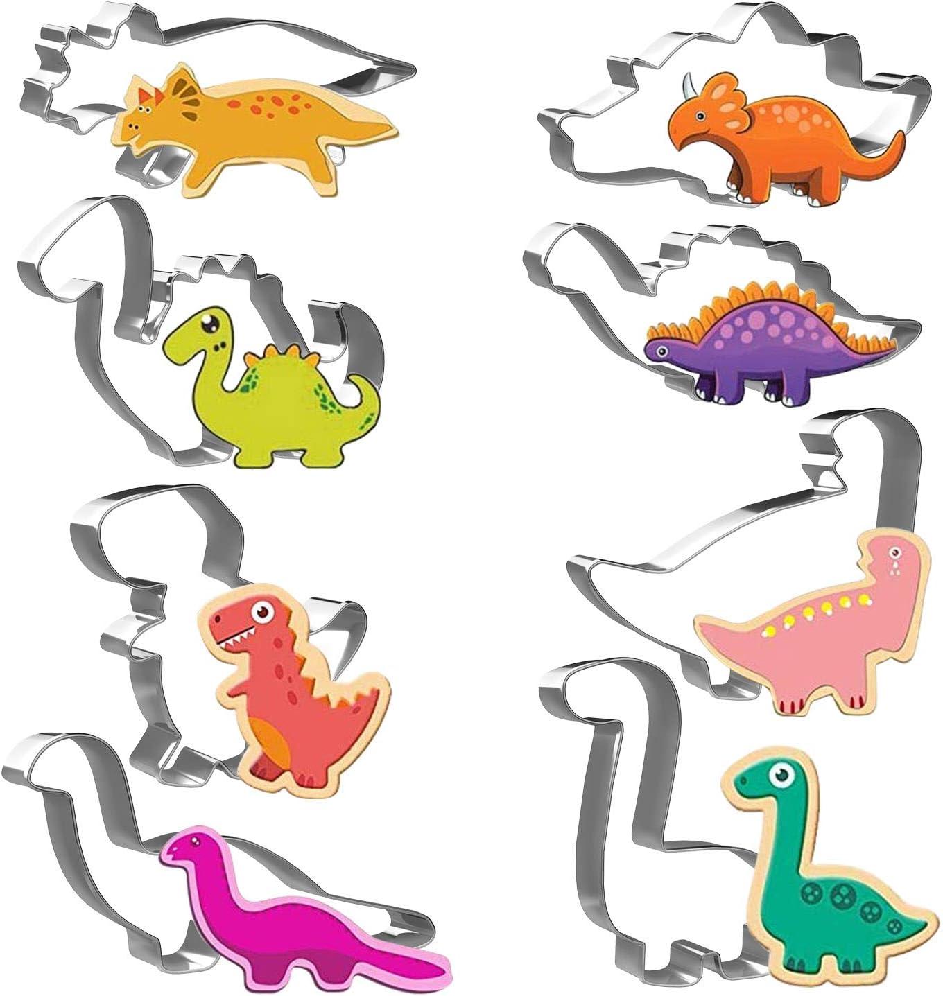 Moules Dinosaure Pour Enfants - en Acier Inoxydable - 8 pièces - Tyrannosaurus, Tricératops, Stégosaure, Brontosaurus, Bébé Dinosaure