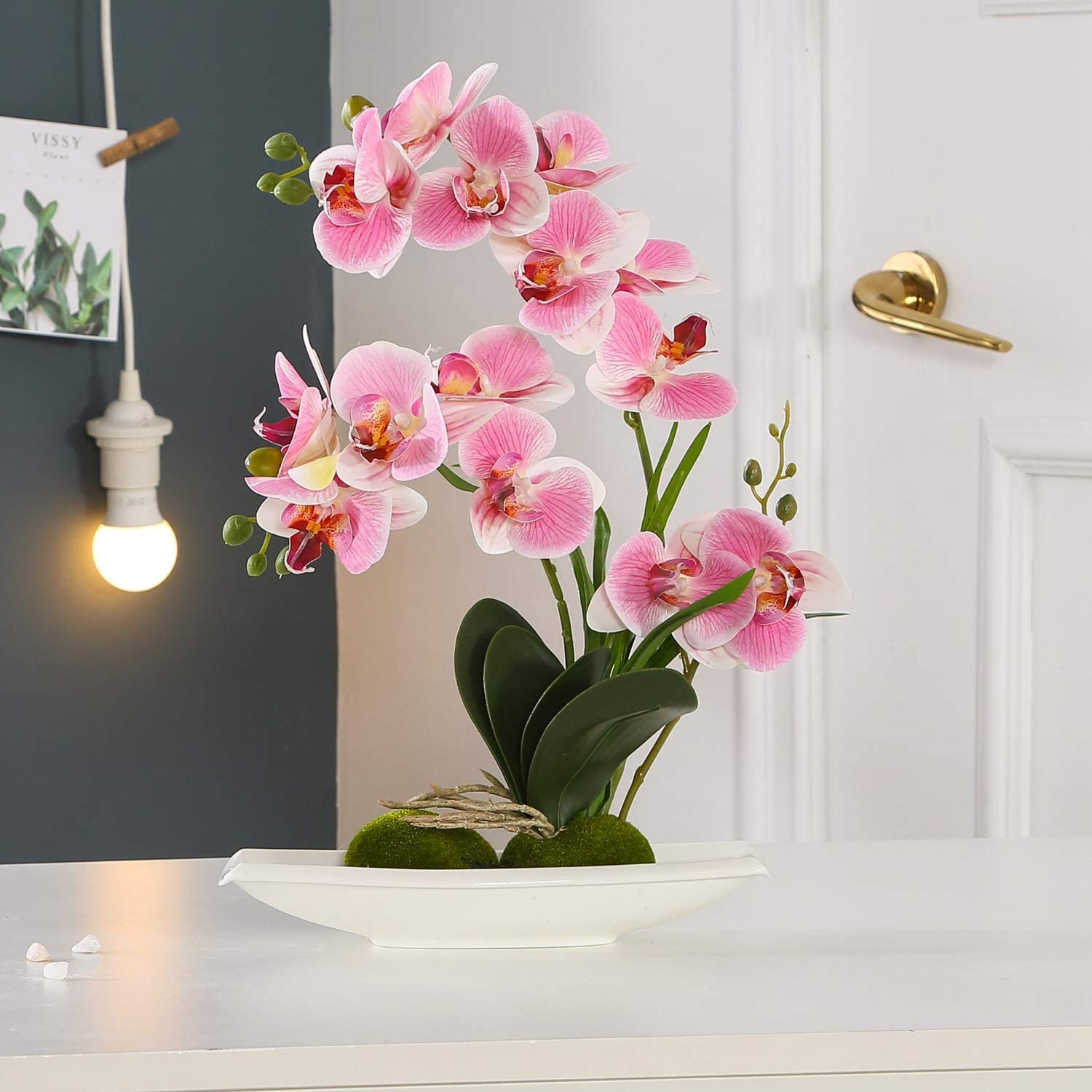 KINBEDY Aritifical Bonsai Silk Orchids Phalaenopsis with Vase Home Office Decoration Party Wedding Decor. (Deep Pink, L)