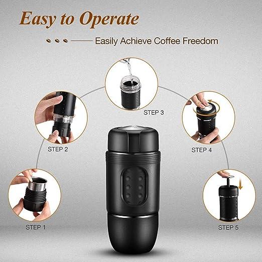 STARESSO - Máquina de café manual portátil compatible con cápsulas Nespresso y café molido para capuchino frío americano todo en uno para el hogar, oficina, viajes, acampada al aire libre: Amazon.es: Hogar