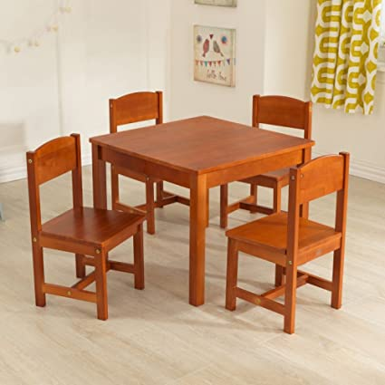 Amazon.com: KidKraft Farmhouse Table and Chair Set Pecan: Toys & Games