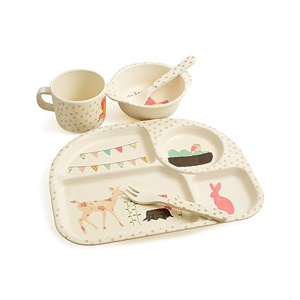 Design61 bambú Set de vajilla para niños Cubertería infantil niños Service 5 piezas Vajilla Cubiertos 100
