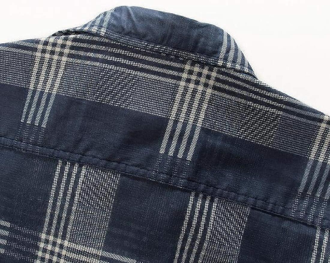 YYG Men Washed Denim Long Sleeve Casual Button Down Plaid Printed Slim Shirt Top