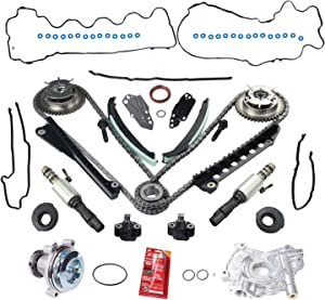 BETTERCLOUD VVT Timing Chain Kit W/Camshaft Phasers (LH & RH),Water Pump,Timing Cover Gasket Set, Pair VCT Camshaft Timing Solenoid Valve Fit for 04-08 Ford 5.4L