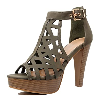 9c149bcadde Guilty Shoes - Womens Cutout Gladiator Ankle Strap Platform Fashion High Heel  Sandals Heeled Sandals