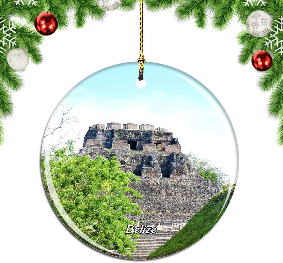 Weekino Belize Caracol Mayan Ruins Cayo Christmas Xmas Tree Ornament Decoration Hanging Pendant Decor City Travel Souvenir Collection Double Sided Porcelain 2.85 Inch