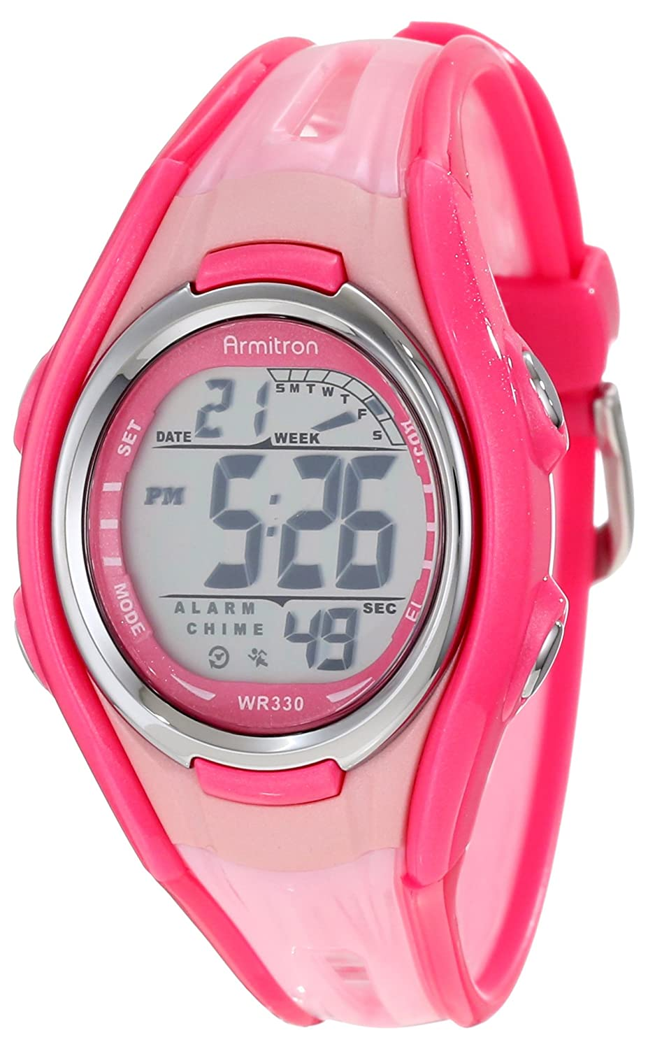 Armitron Womens 457026pnk Light Pink Double Injected Resin Strap