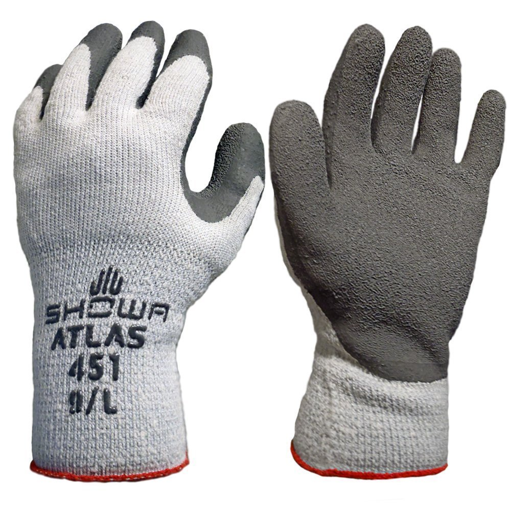 Atlas Showa - Therma-Fit 10-Gauge Insulated Seamless Liner Work Gloves with Natural Rubber Latex Coating - Grey, Large, 12-Pair - 451 by Atlas Glove
