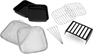 Paula Deen Air Fryer Accessory Kit (12 Pieces), Fits 8.5QT, 9.5QT, 10QT and 13QT Paula Deen models, Includes 2 Steam Racks, 2 Baking Pans, 2 Mesh Baskets, Toasting Rack and 5 Skewers, Dishwasher Safe
