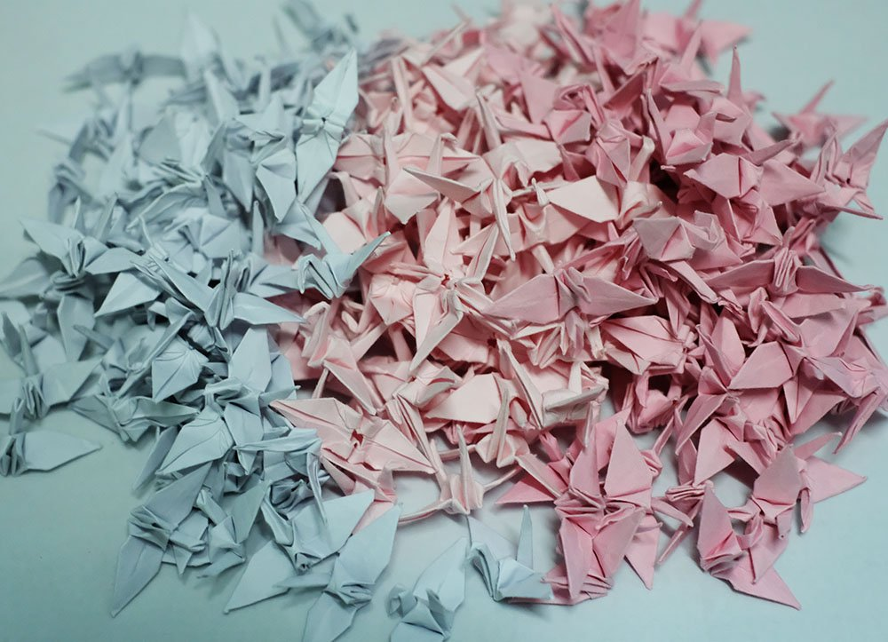 1000 Origami paper cranes Pink 1.5 Handmade folding for Wedding Valentines Day