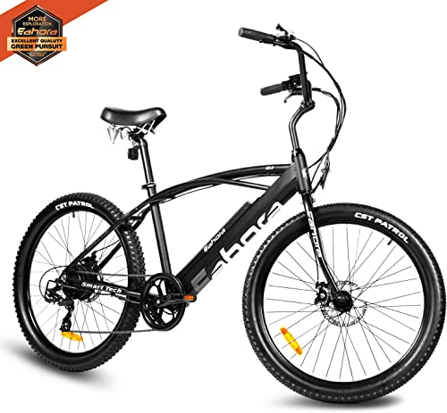 Eahora E2.0 350W Aluminum Electric Bike Adult Electric Mountain Beach Bike, 26 Electric Bicycle 21Mph with Removable 36V 10.4Ah Lithium-Ion Battery, 21 Speed Gears E-Bike E-PAS System Ebike
