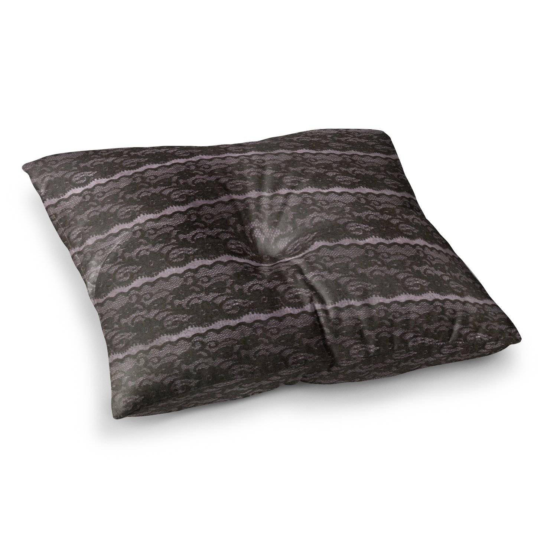 Kess InHouse Heidi Jennings Black Lace Gray 23 x 23 Square Floor Pillow