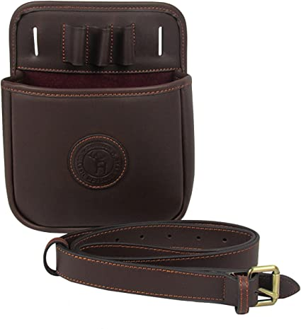 Genuine LEATHER SHOTGUN SHELL SHOTGUN SHELL POUCH Sporting Clays BLACK DELUXE