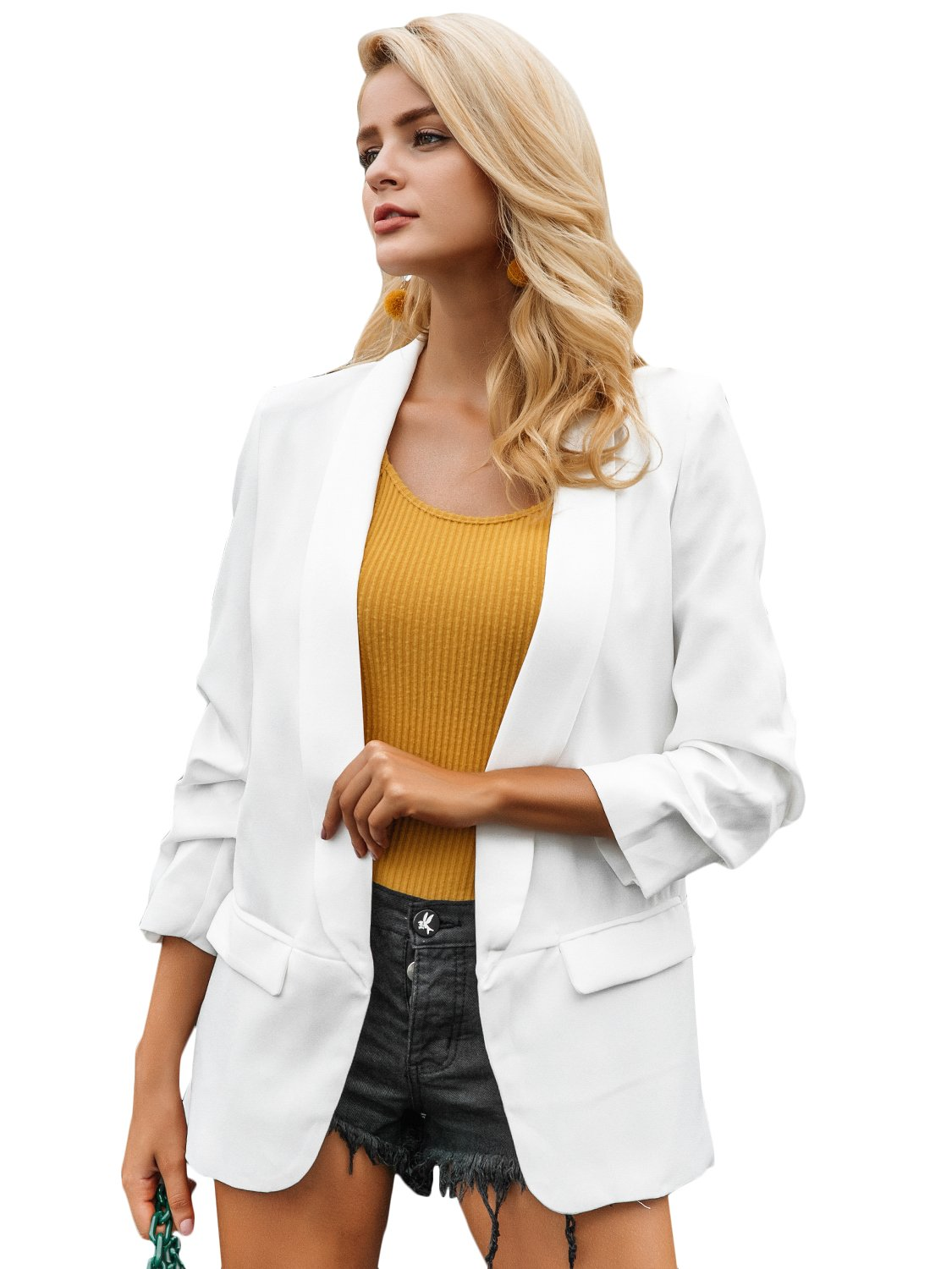 Simplee Women's Fashion 3/4 Ruched Sleeve Open Front Work Office Blazer Jacket