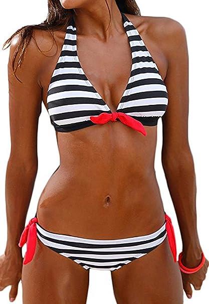 a677c039cf QingLemon Women s Bikini Halter Black Stripe Two Pieces Swimsuit Lovely  Swimwear (S