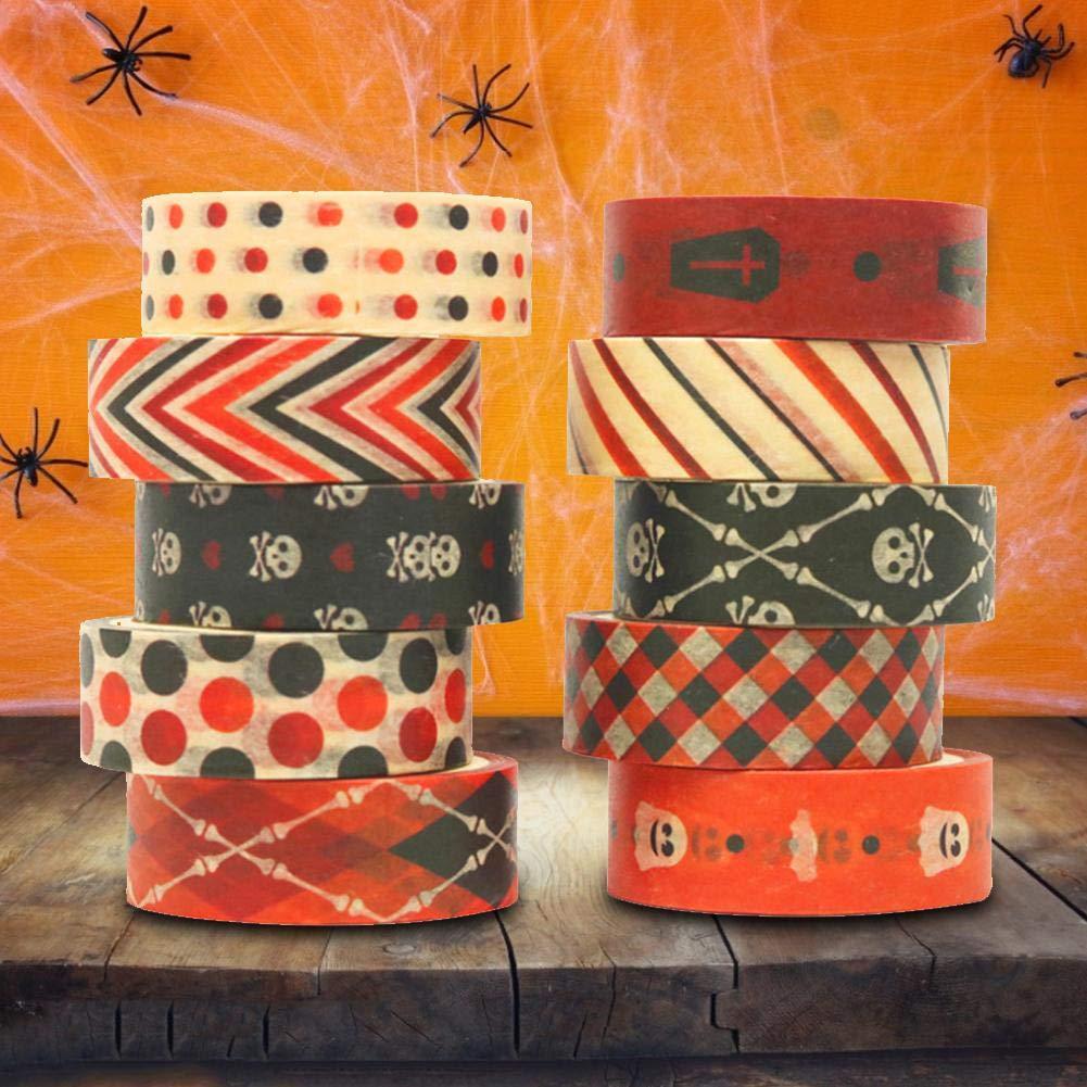 Washi Tape Halloween Nastro Per Mascheratura Dekoband Nastro Decorativo Decorativo Per Scrapbooking Confezione Regalo Di Halloween Fai Da Te 10 Rotoli//Set