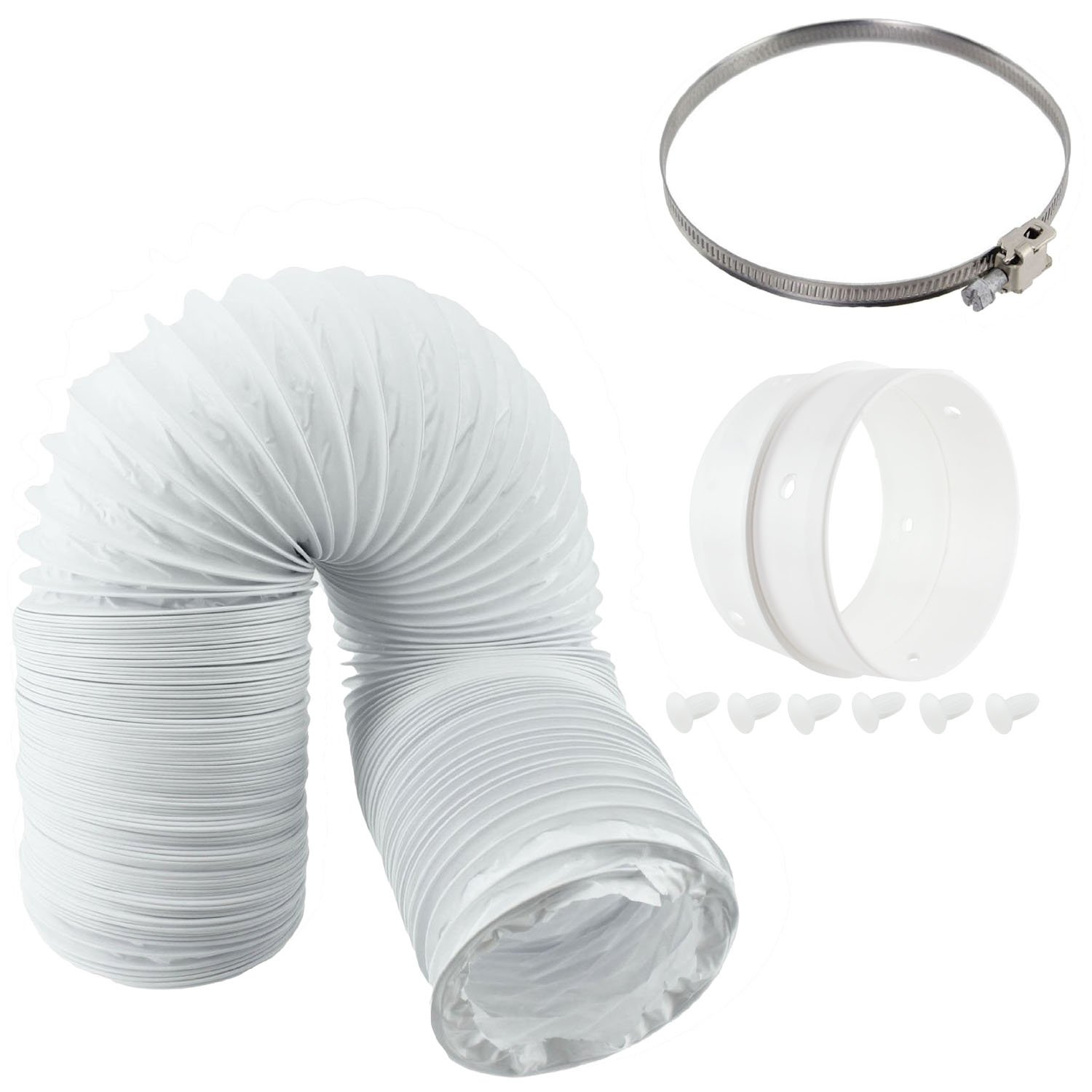SPARES2GO Vent Hose & Extension Ring Kit for HOTPOINT Vented Tumble Dryer (4
