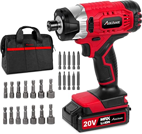 20V MAX Cordless 1 4 Hex Impact Driver Kit, Variable Speed, Max Torque 1590 in-lbs, with 14Pcs Sockets, 10Pcs Driver Bits and Tool Bag, Avid Power