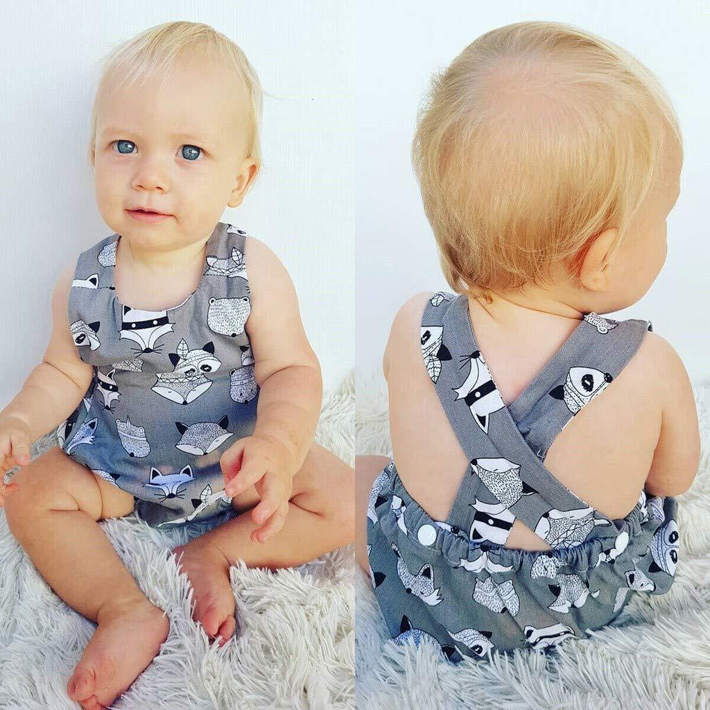 Jumpsuit Baby Sommer Pwtchenty /Ärmelloses Straps Cartoon Print Spielanzug Overall Strampler M/ädchen Set Overall Kinder Kleidung