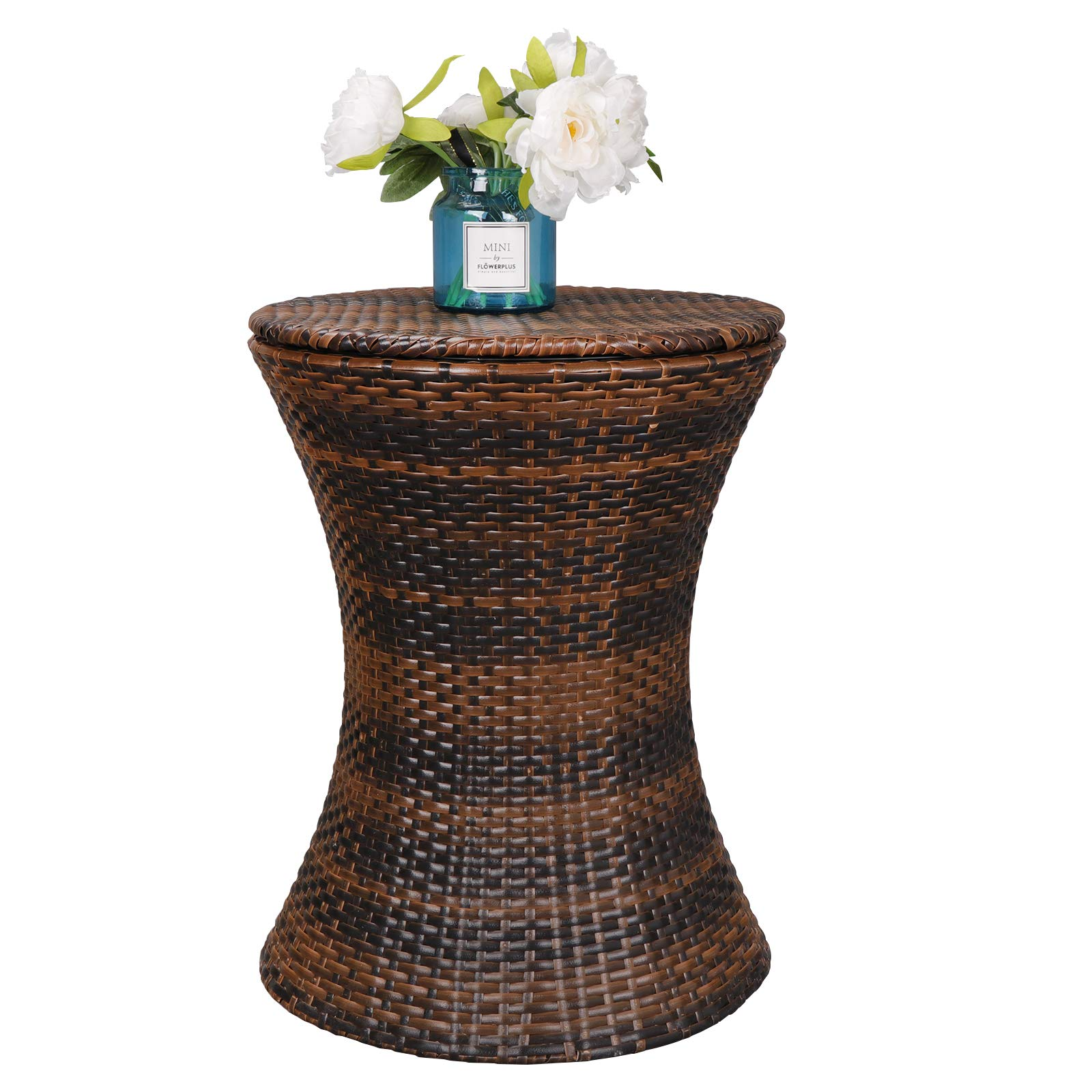 ZENY 5.5 Gallon Cool Bar Rattan Style Patio Pool Cooler Table W/Height Adjustable Top Outdoor Wicker Ice Bucket Cocktail Coffee Table for Party Deck Pool Use, Brown by ZENY (Image #4)