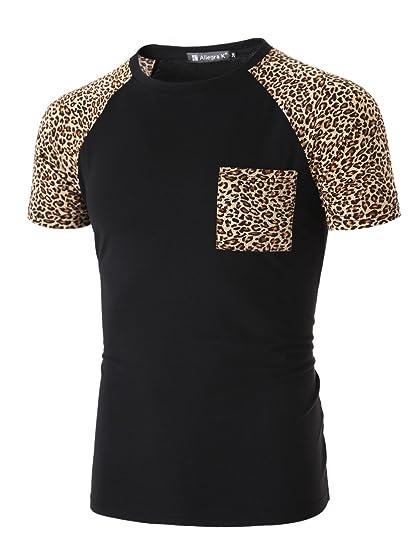 1d5ef63fced1 uxcell Men Newly Leopard Pattern Short Raglan Sleeve Slim Shirt S (US 34)  Black