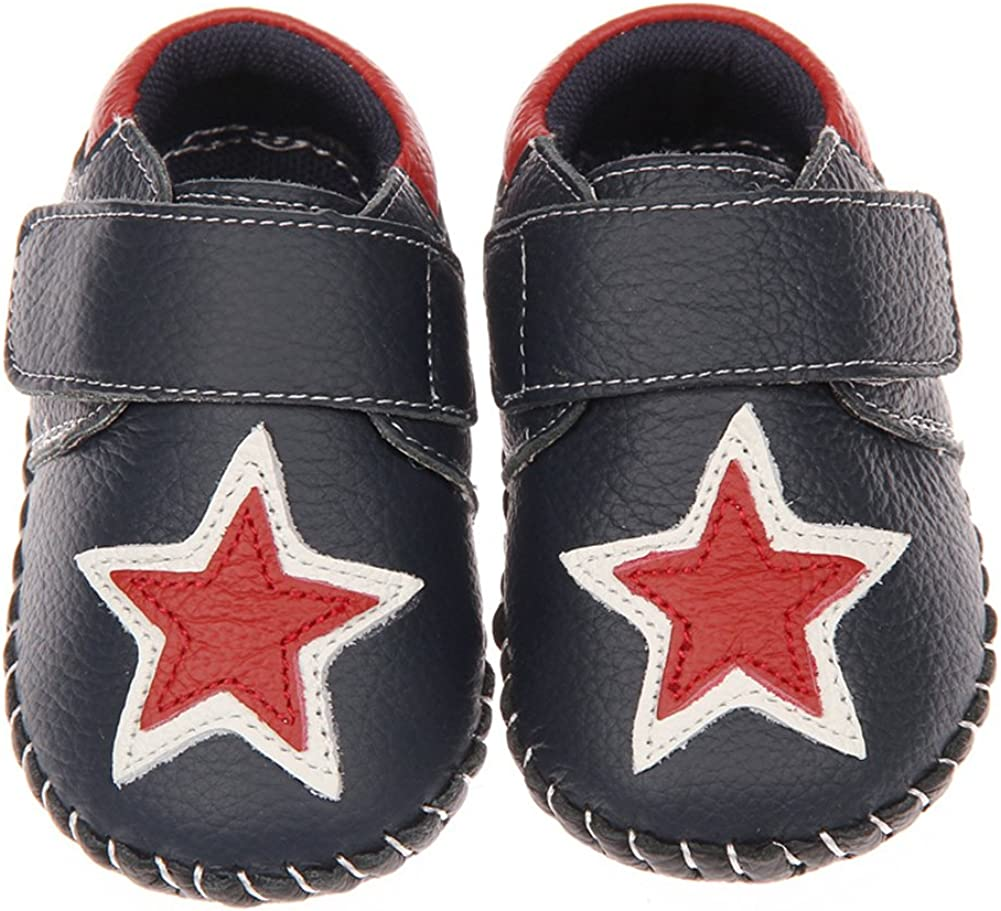 Tortor 1Bacha Infant Baby Boy Girl Star Leather Soft Sole Loafers Crib Shoes