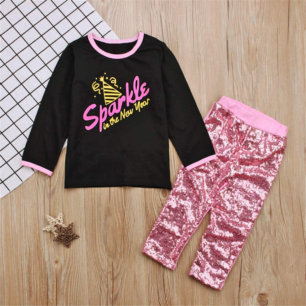 Long Sleeve Black Top and Pink Paillette Pants for Toddler Kid Girl Clothing Set