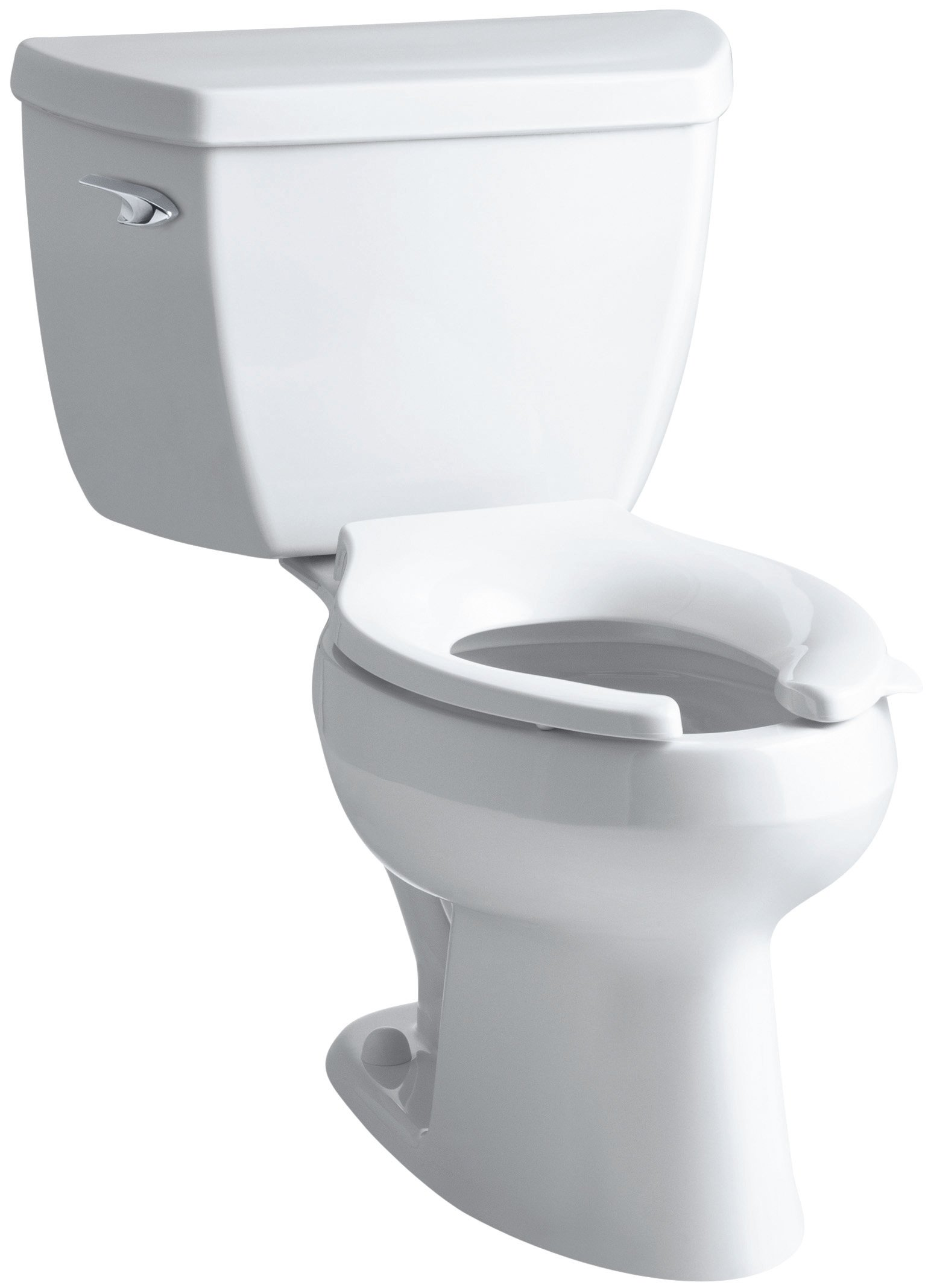 Kohler K-3531-T-0 Wellworth Classic Pressure Lite Elongated 1.0 gpf Toilet with Tank Cover Locks and Left-Hand Trip Lever, Less Seat, White