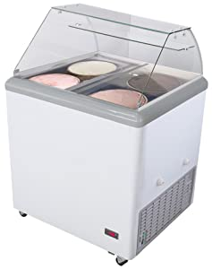 Chef's Exclusive Commercial Frost Free Ice Cream Dipping Cabinet Case Sub Zero Freezer Glass Canopy 7.5 Cubic Feet With Tub Skirts - Displays 4 Tubs Stores 2 Additional, 31.5 Inch Wide 4 Flavor, White