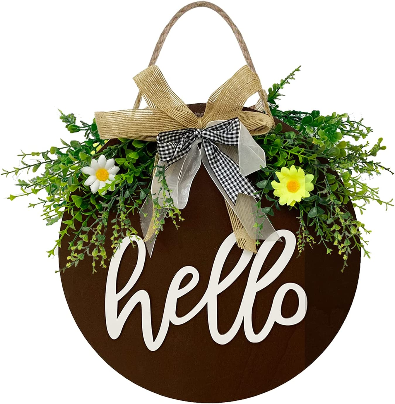 Welcome Sign for Front Door, Nordic Rustic Style Retro Wooden Hanging Hello Sign, Outdoor Front Porch Wreath for Housewarming Gifts Spring Fall Holiday Décor