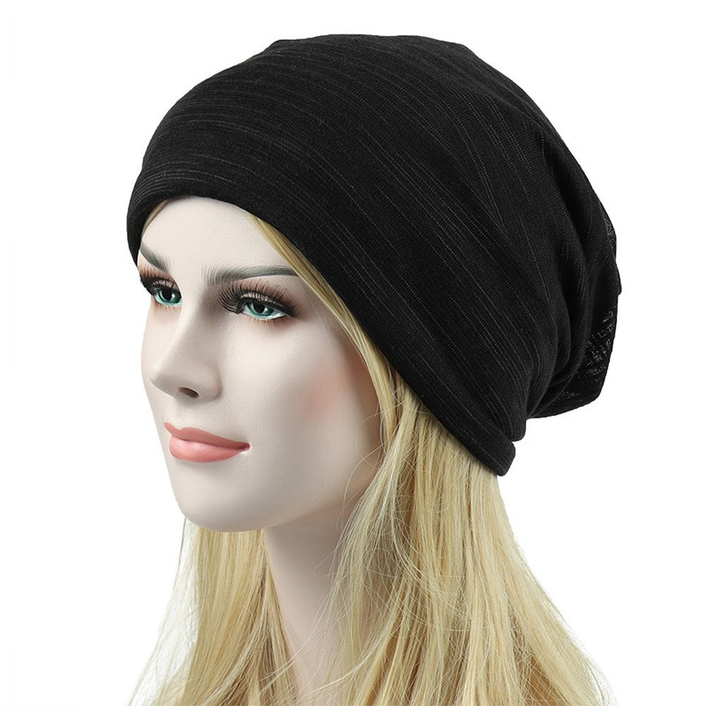 e168dd2bbf2c6 TWGONE Womens Wrap Caps Unisex Head Cap Outdoor Fashion Summer Hip-hop  Casual Scarf Hat(Black