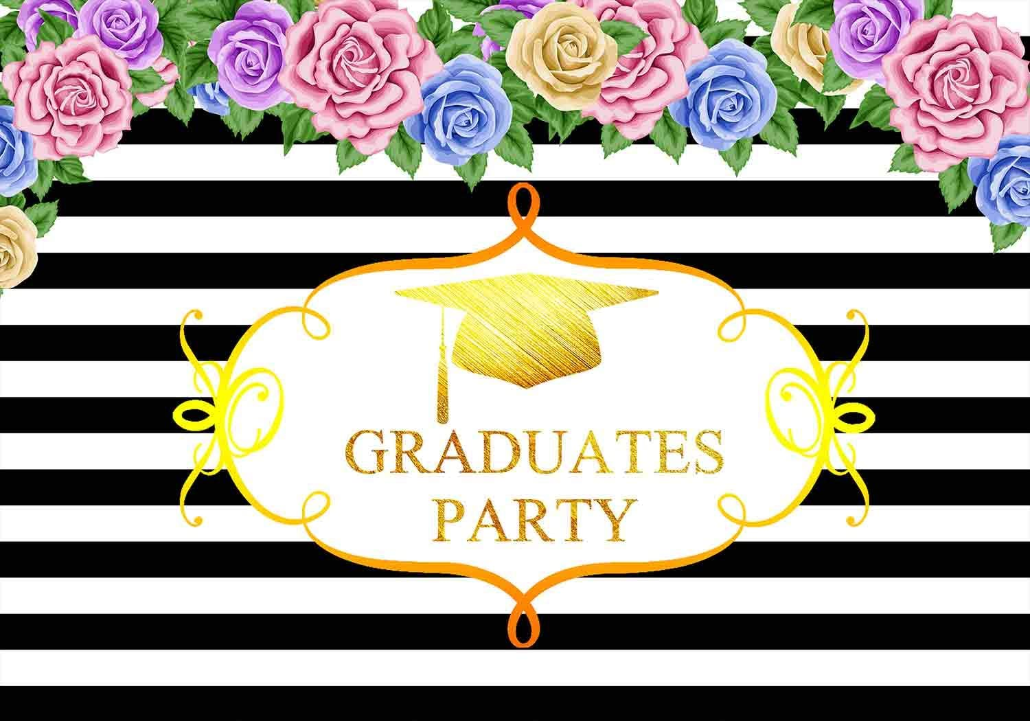 FLASIY 10x7ft Graduation Party Backdrop Black and White Stripes Flower Photography Background for Event Theme Party Photo Video Studio Props LHAY354
