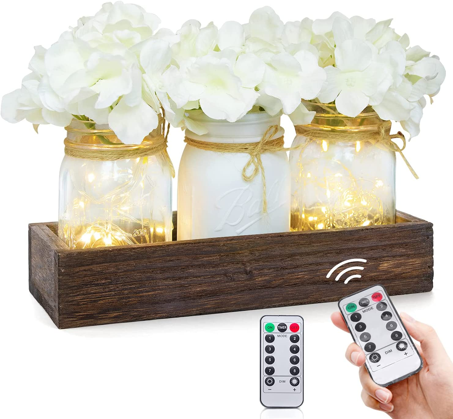 Lighted Floral Rustic Mason Jar Centerpiece Decorative Wood Tray with Remote Control LED Fairy Lights and 3 Painted Jars For Home, Living Room, Bedroom, Kitchen, Herb Plants Coffee Table Decoration