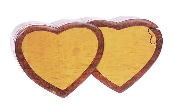 Hecho a mano de madera double-heart forma secreto joyas caja ...
