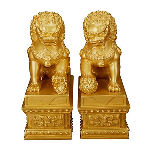 Wenmily Wealth Porsperity Pair of Fu Foo Dogs Guardian Lion Statues,Best Housewarming Congratulatory Gift to Ward Off Evil Energy,Feng Shui Decor