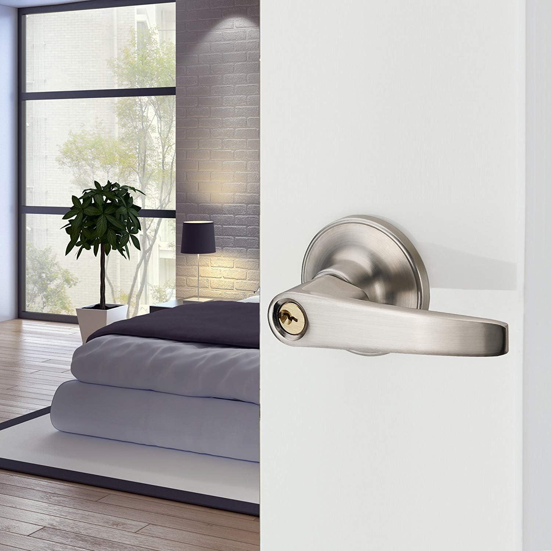 Drenky Pesado Pomo de puerta con cerradura de puerta para entrada o paso Cerradura puerta metalica Para puerta interior y puerta exterior acabado en n/íquel satinado