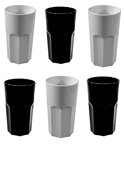 4b59dd2f15d7 MIXED Set of 6 Black and White RB Unbreakable Reusable Polycarbonate Plastic  Octagon shaped 12 OZ