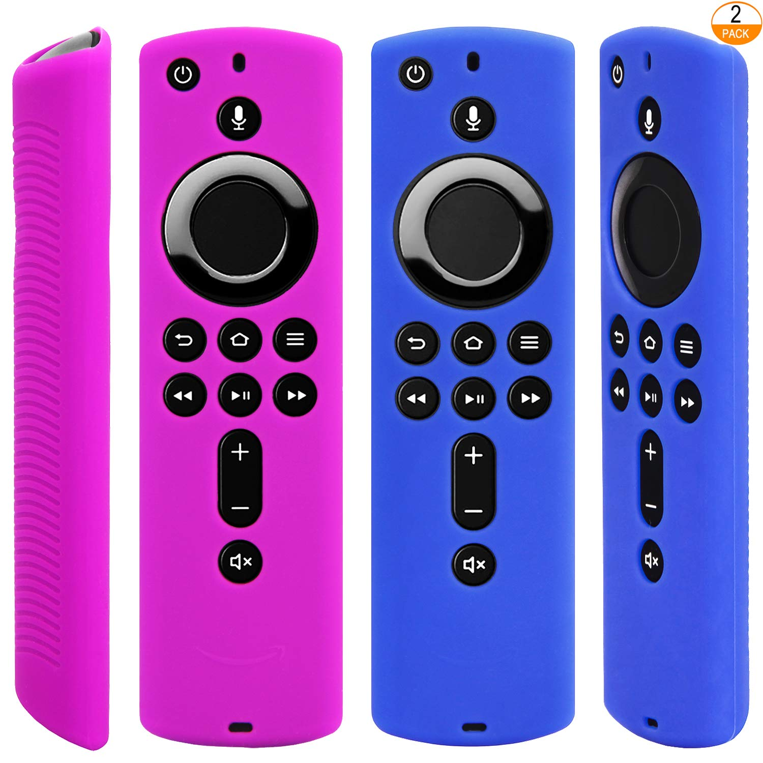 2 Pack Blue and Purple Silicone Protective Case Compatible with Fire TV Stick 4K Remote