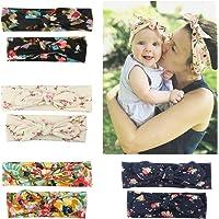 8 diademas elásticas para bebé niña con estampado floral con lazo, turbante de algodón para bebé y mamá