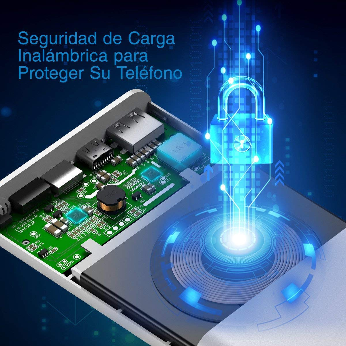 Poweradd Cargador Inalámbrico Power Bank de 10000mAh Batería Externa, Dos Maneras de Entrada de Lightning y Type-C, Diseñado para iPhone X, iPhone 8, iPhone 8 Plus, Samsung Galaxy S8/Note 8 - Argentado