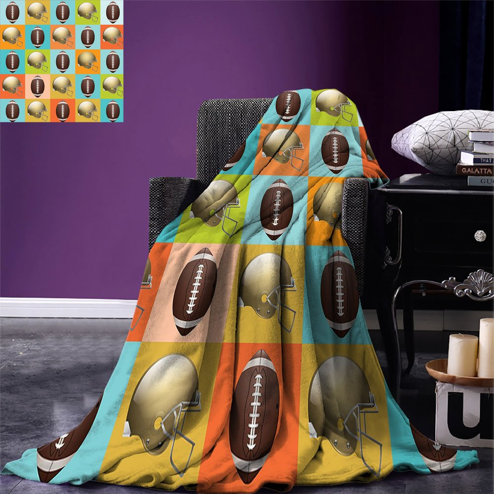smallbeefly Football Digital Printing Blanket Colorful Squares Mosaic Pattern of Protective Equipment and Balls College Activity Summer Quilt Comforter Multicolor