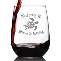 Taking It Nice & Easy - Sea Turtle Stemless Wine Glass - Large 17 Oz - Unique Funny Etched Turtles Gift Glasses
