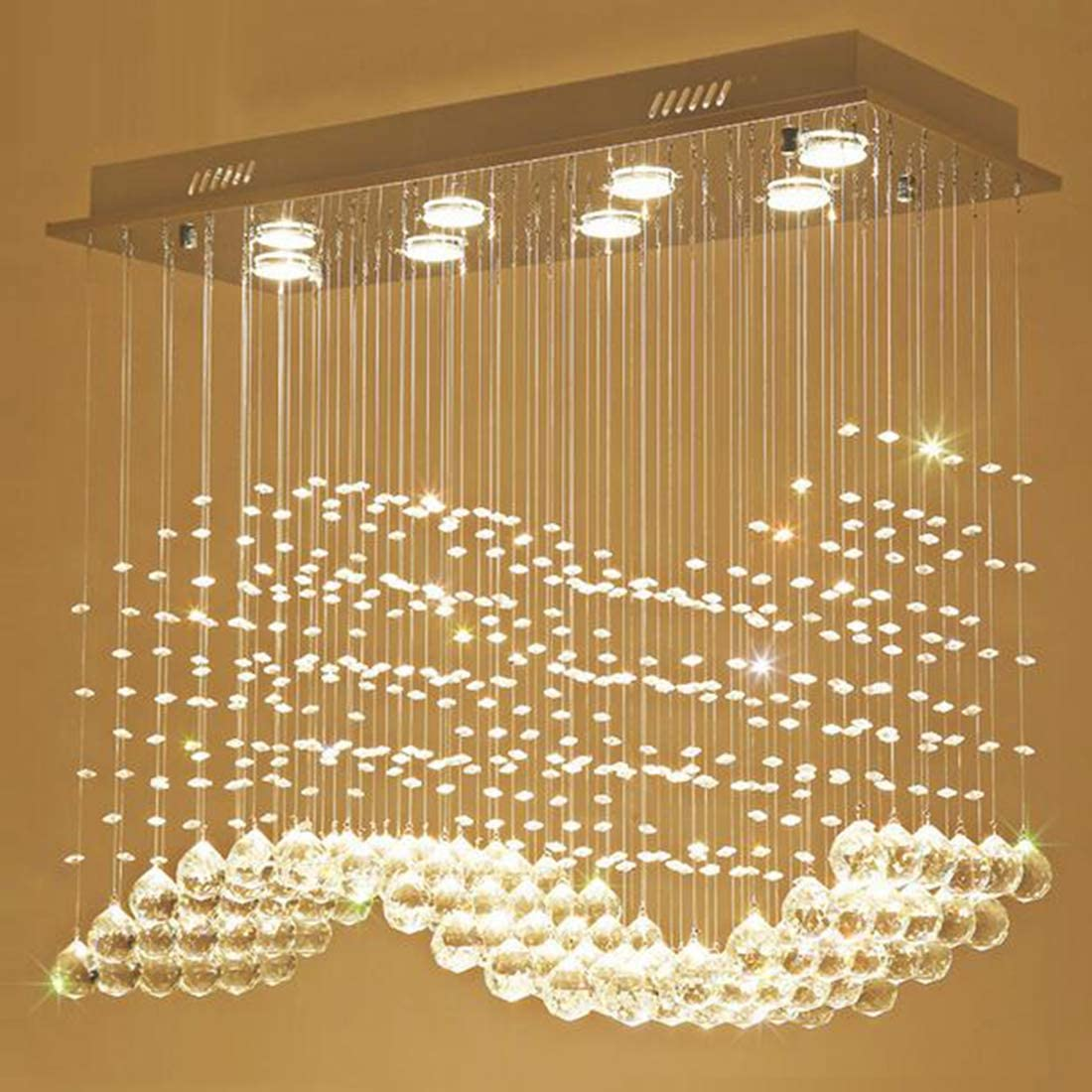 Moooni Modern Rectangular Crystal Chandelier Lighting Pendent Ceiling Light Fixture for Dining Rooms L31.5 x W11.8 x H27.6